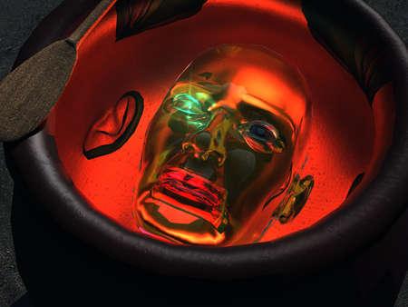 Robotic Head in a Caldron Banco de Imagens