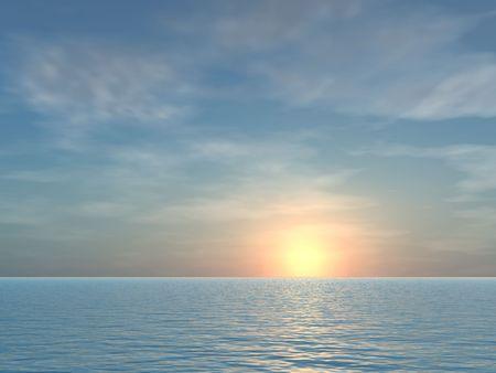 開く熱帯海の日の出背景