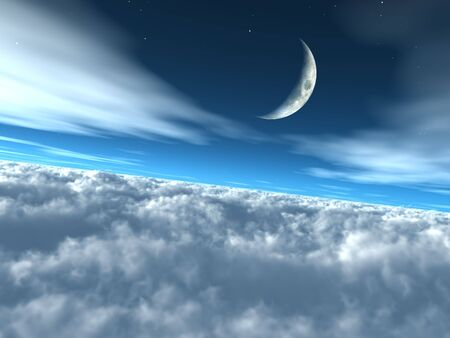 above clouds: Above the Clouds Heavenly Lunar Sky