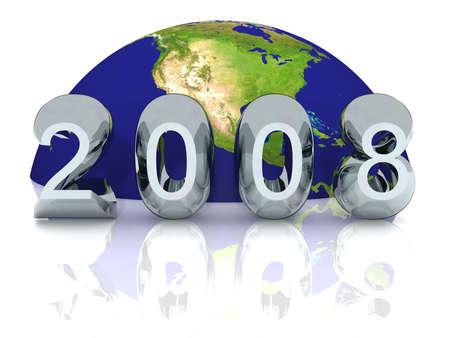 newyear: New Year 2008 Global  Stock Photo