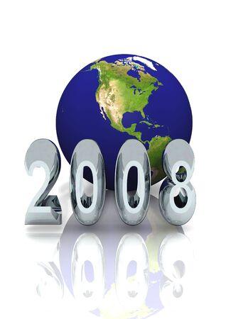 newyear: New Year 2008 Global Proposal Stock Photo