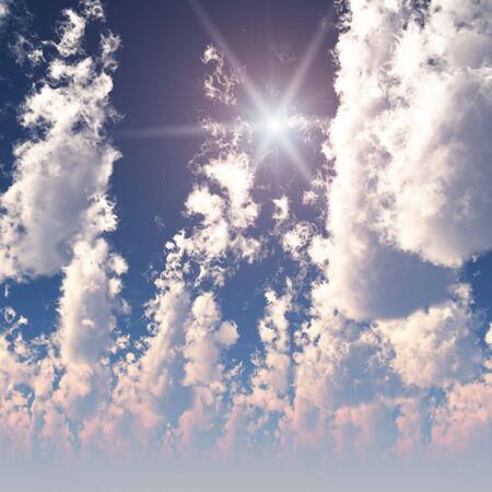 float cotton cloud: Fractal High Cumulus Clouds with Sun Stock Photo