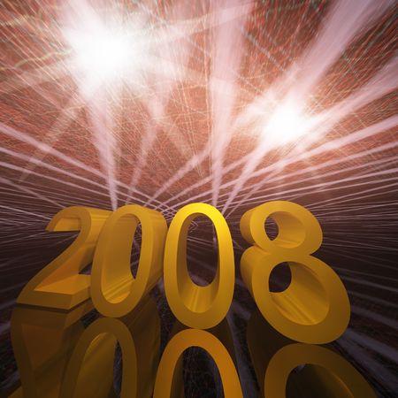 newyear: New Year 2008 Sparkle Grunge Stock Photo