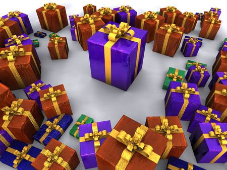arial: Christmas Presents Stock Photo