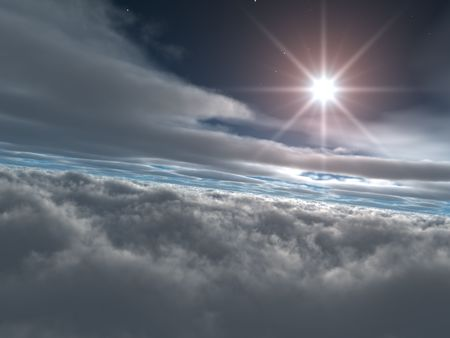 Bright Star above Heavenly Clouds