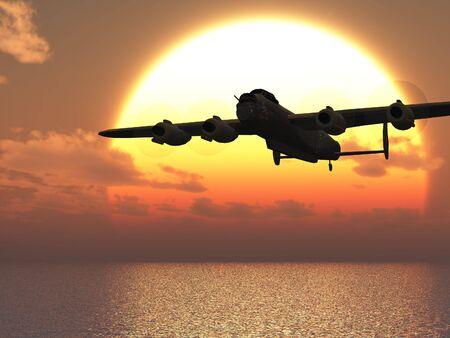 ww2: Lancaster heavy bomber sunset Illustration Stock Photo