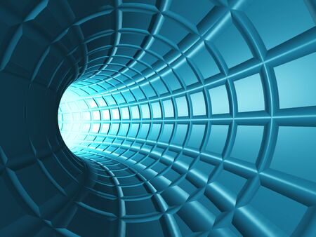 light tunnel: Web Tunnel - A radial tunnel with a perspective web like grid.