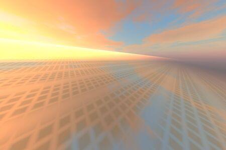 meta: SunriseTechnology Metal Mirror -  A sunrise with a technology metal grid mirror to the horizon. Stock Photo