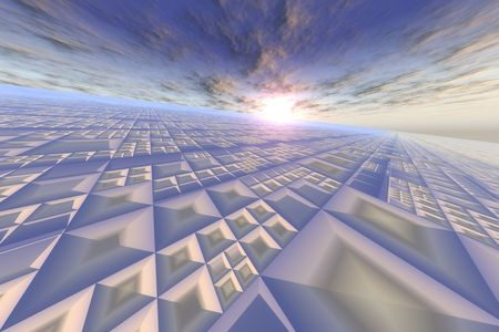 perspective grid: Modern Grid On Sky Horizon - Perspective patterns of cubicles on a blue sun and sky horizon.  Stock Photo