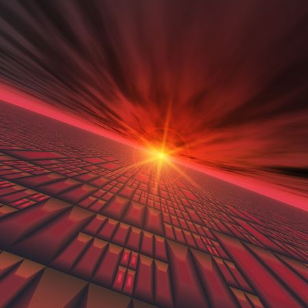 Abstract Technology Horizon - A red technology grid vortex with star rising background. photo