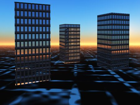 perspective grid: An abstract background of buildings on a glowing grid sunrise horizon.