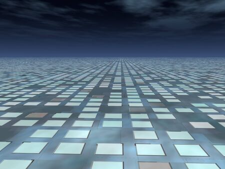 perspective grid: A perspective grid of technology panels stretching over the dark horizon