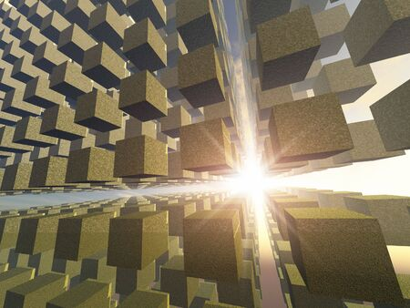 A building of old mossy cubes in an array in space with a beam of light. Stock Photo - 3737062