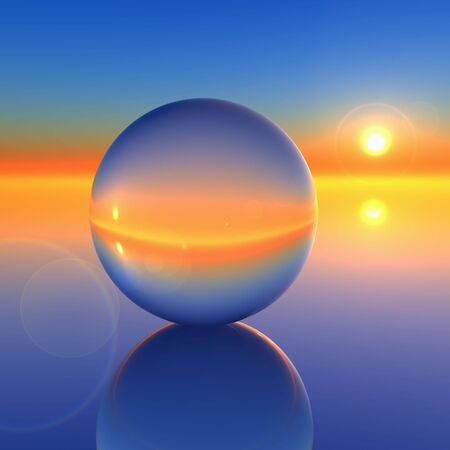 blue sphere: Abstract Crystal Ball on Future Horizon -A Sunrise horizon through a crystal ball background. Abstract to forecasting the future.