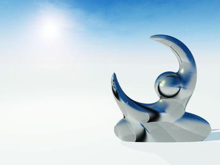 grasp: Abstract Sculpture Human Reach  - A modern diigital sculpture of human like form reaching and embracing the sky.