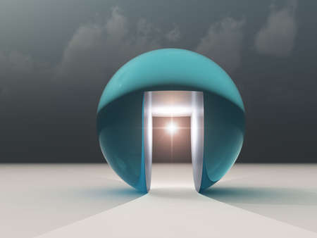 go inside: Abstract Hope for Opportunity - A building on horizon with Storm in background; having a hallway with a light at the end of the tunnel as an abstract opportunity.