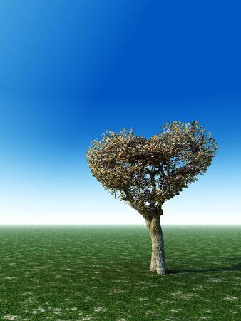 Corazón árbol Forma - Un corazón en forma de árbol en pie solo en una pradera de campo con el cielo azul claro para el espacio de la copia.