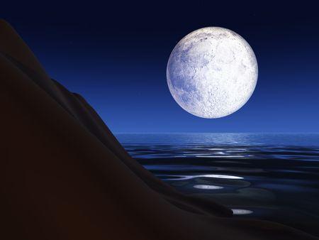 Een volle maan achtergrond over een zee klif reflecties maan met helder licht in het water. Stockfoto