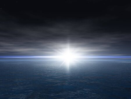 horizon: A bright star at dusk over an ocean horizon illustration.
