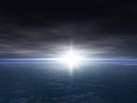 Een heldere ster in de schemering over een oceaan horizon illustratie.