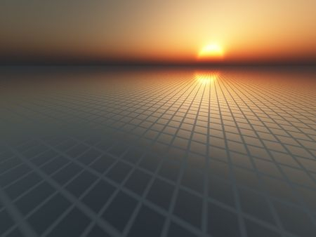 An infinite perspective grid over horizon towards sunset sky. Use as an abstract business or technology background.