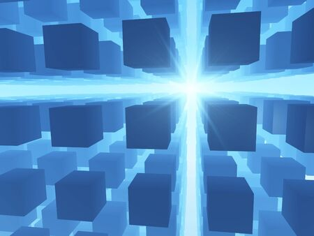 An abstract blue background of a grid of cubes against a bright perspective light. photo
