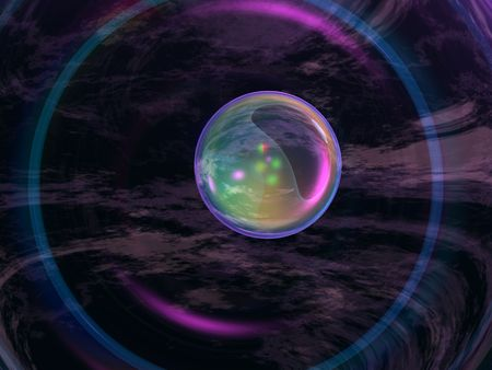 Abstract cool abstract blue, violet and colorful lights on crystal glass round spheres against black, reflecting misty clouds. photo