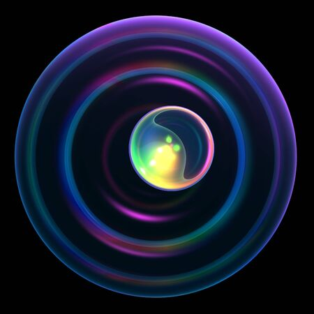An abstract background with a round pupil sphere with a neon glow of colorful lights. photo