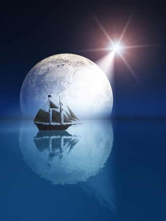 An illustration of a full night moon over sea with bright shooting star. illustration
