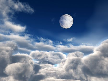 clouds: Moon and bright star over fluffy clouds background.