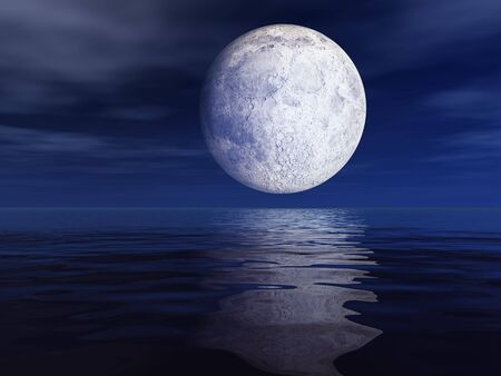 moon: Moon and bright star over sea background. Stock Photo