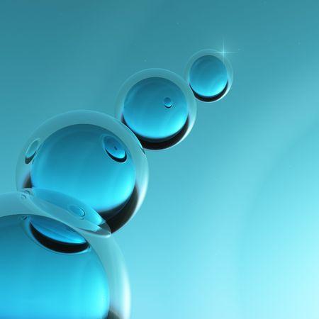 Abstract science of cool sea blue crystal orbs reflecting off each other. Imagens