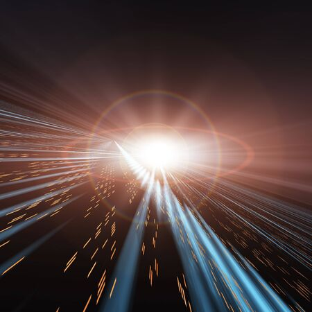 An abstract perspective horizon background, containing a futuristic speed lights through space and time. A dark technology backdrop with blue streaks and yellow lights moving fast towards a flashy white star. Stock Photo