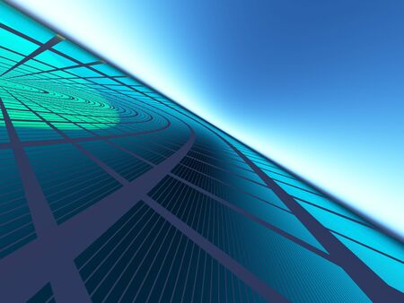 flash point: An abstract green blue progressive grid business background Stock Photo