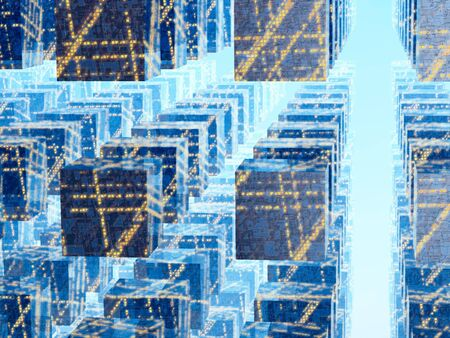 An abstract blue background of an electric city grid of cubes against a bright perspective light. Use for business, Science or Technology Background. photo