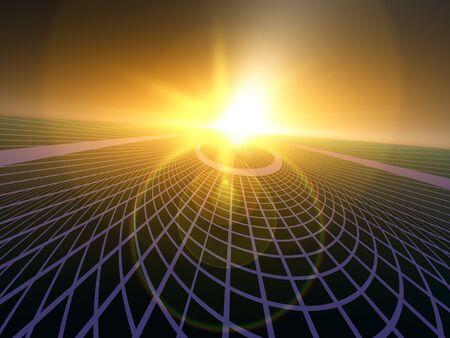 horizonte: Un fondo de horizonte de perspectiva abstracta, que contiene una cuadr�cula con tecnolog�a abstracta y luces de grunge de amarillo y verde.