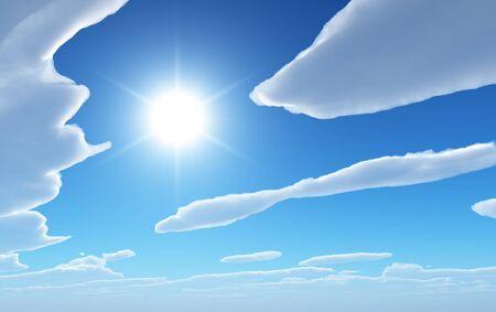 Een hemelachtergrond van vloeiende wolken met zon tussen.