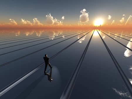path: An abstract perspective background with vanishing point lines, containing a business man walking a line toward the sun on the cloud scattered horizon.