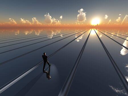 Un fondo de perspectiva abstracta con líneas de punto de fuga, que contiene a un hombre de negocios que caminar una línea hacia el sol de la nube dispersos horizonte.  Foto de archivo