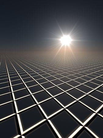 A dark perspective gird horizon with sun flare.