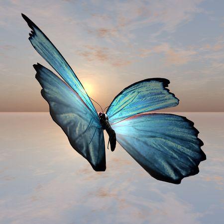 morpho: A male Morpho Butterfly Illustraion against a sunset horizon. Stock Photo