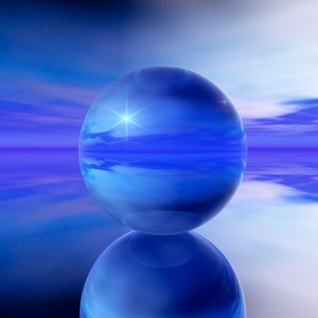 An abstract illustration background of a cool blue crystal ball with a cloudy, unclear prediction of what is to come.