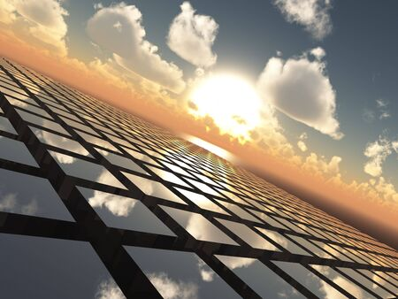 An abstract illustration background of a bright  sunset with fluffy clouds over a cube array tech like grid horizon. illustration