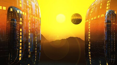 a sunrise between to alien science fiction dwellings and floating city.