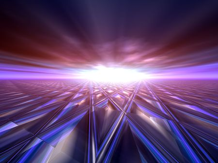 An abstract illustration background of a bright star flash on a grunge criss cross target grid horizon. illustration