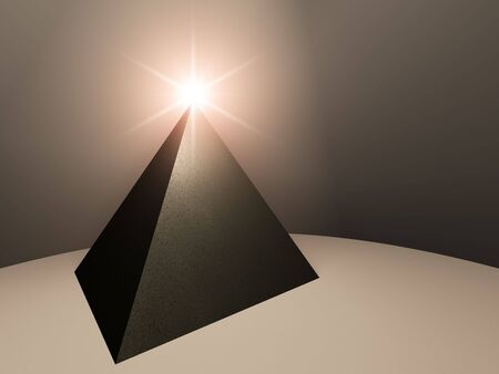 Abstract pyramid with bright light on top.