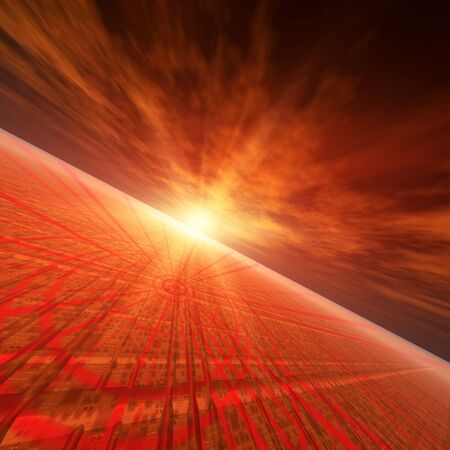 An abstract illustration background of a bright star flash on a grunge technology target grid horizon. illustration