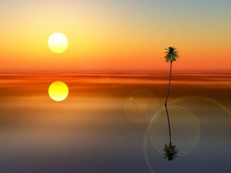 A coconut tree sunset on very calm peaceful sea. Фото со стока - 6125805