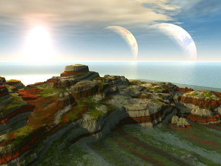 A science fiction illustration of a landscape on a alien world.