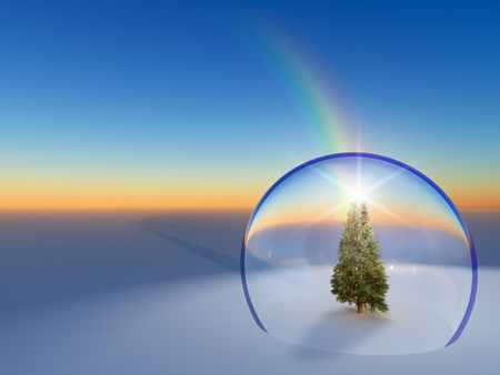 3d ball: An illustration of a life size snow globe on an evening horizon with a rainbow falling on it.